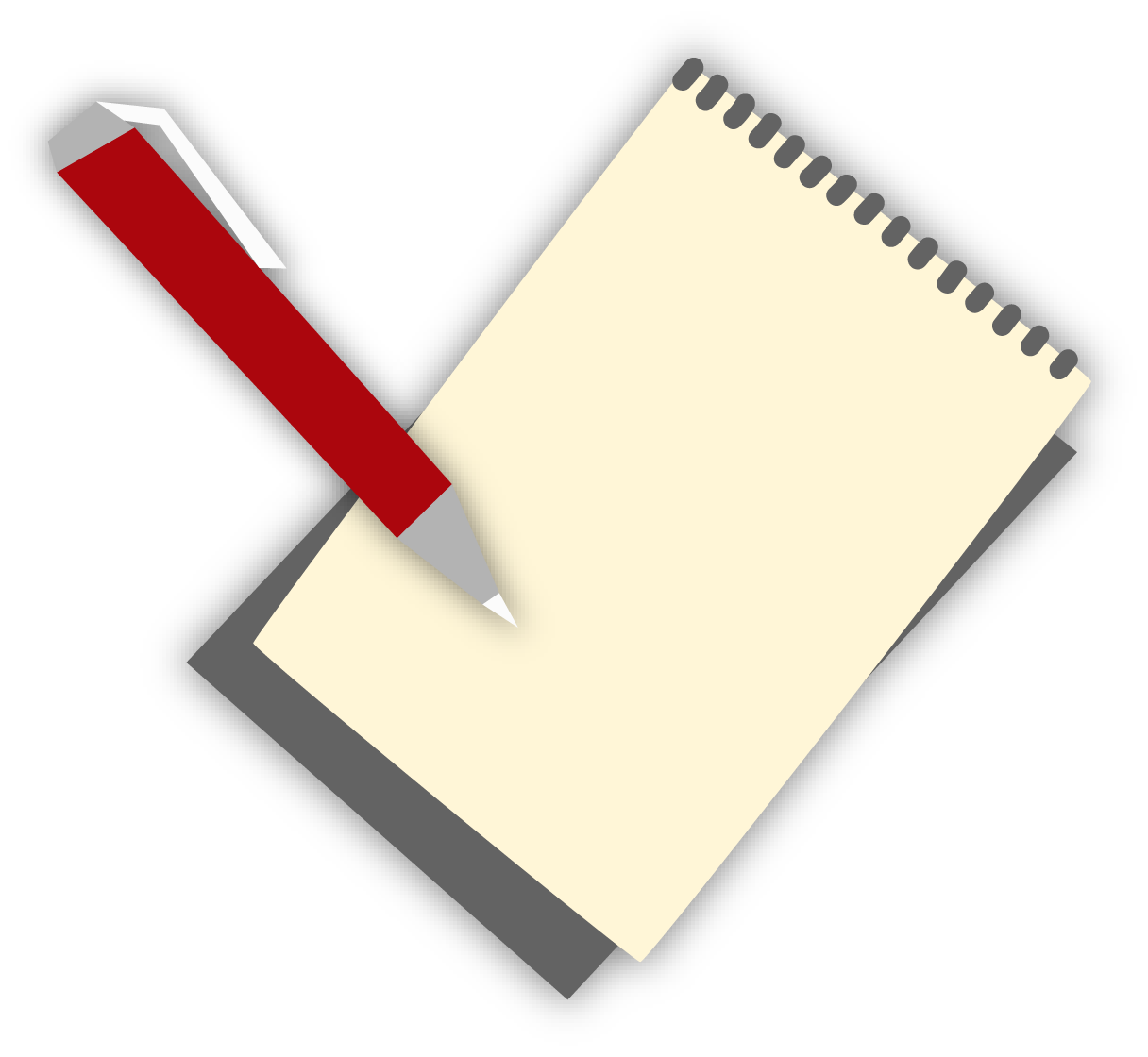 A cartoon of a notepad and a pen.
